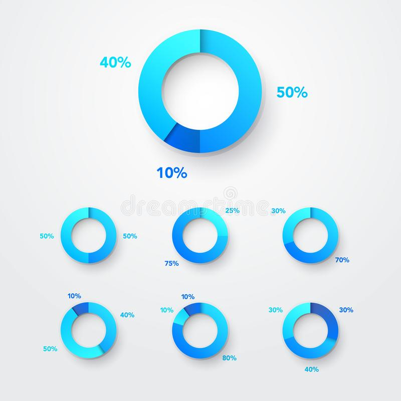 De Reeks van het Diagraminfographic van de Cirkeldiagramcirkel Kleur Ring With Examples Vector Webelement vector illustratie
