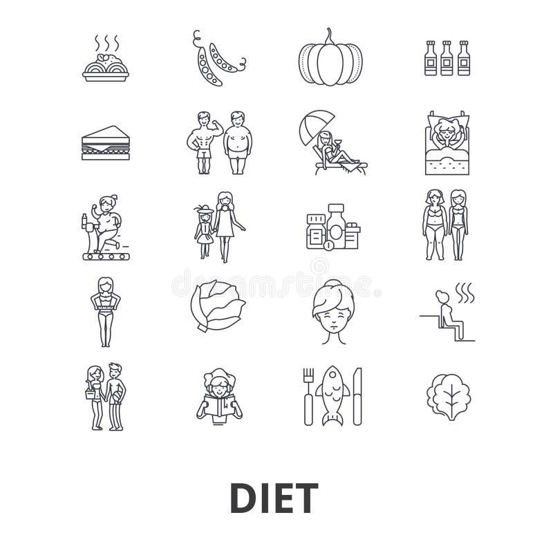 De reeks van het dieetpictogram stock illustratie