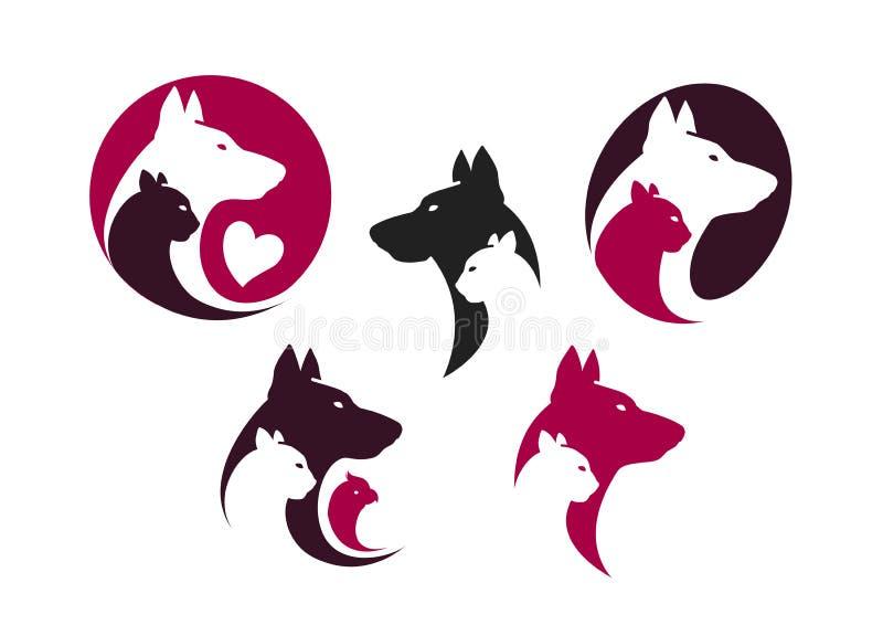 De reeks van het dierenwinkeletiket Dieren, hond, kat, papegaaipictogram of embleem Vector illustratie royalty-vrije illustratie