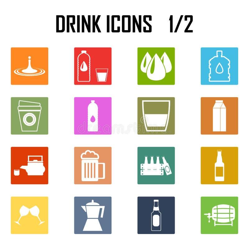 De reeks van het drankenpictogram stock illustratie