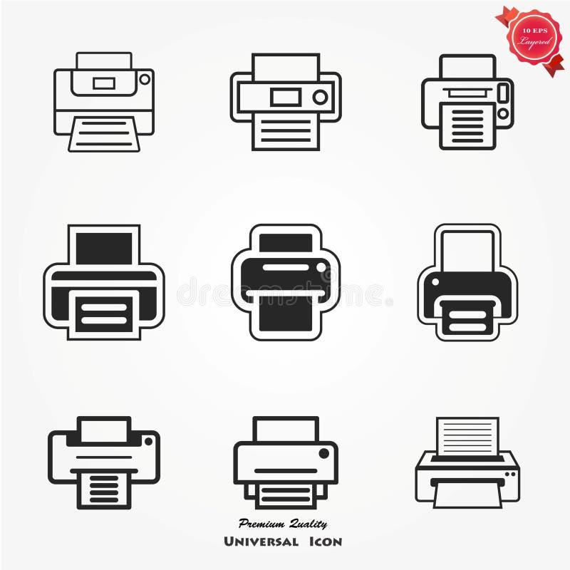 De reeks van het drukpictogram stock afbeelding