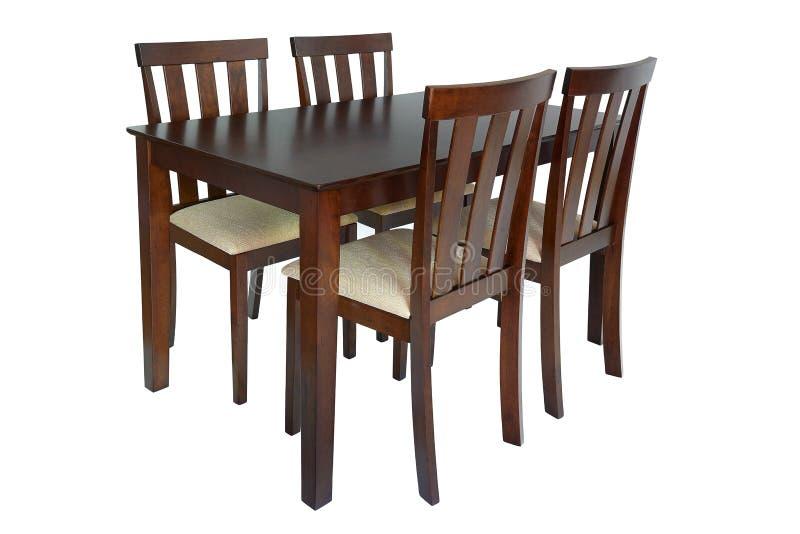 De reeks van het eetkamermeubilair lijst en vier stoelen Elegant die het dineren meubilair voor woonkamer of keuken, van bruin ho stock fotografie