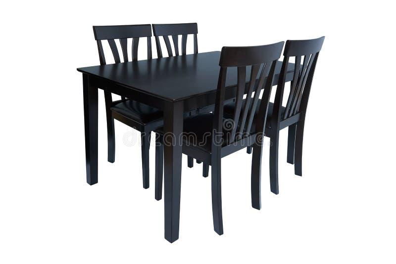 De reeks van het eetkamermeubilair lijst en vier stoelen Elegant die het dineren meubilair voor woonkamer of keuken, van zwart ho stock foto's