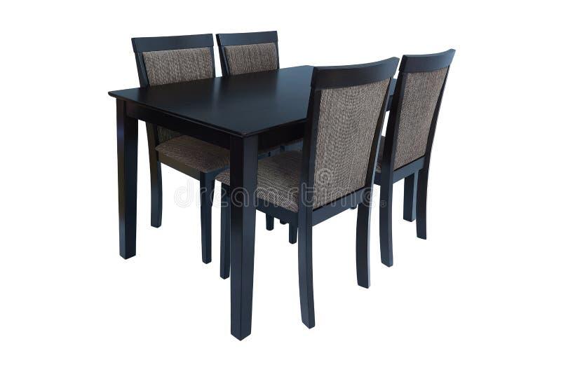 De reeks van het eetkamermeubilair lijst en vier stoelen Elegant die het dineren meubilair voor woonkamer of keuken, van zwart ho royalty-vrije stock afbeeldingen