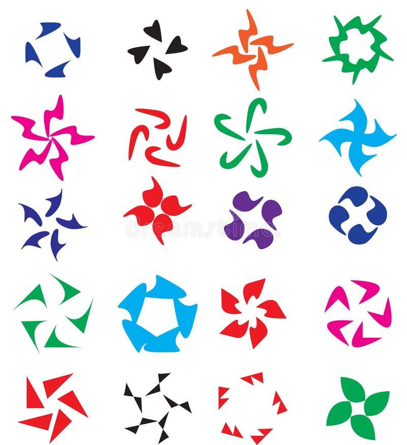 De reeks van het embleemelement Cirkel abstracte elementen op een embleem voor uw bedrijf Vector illustratie royalty-vrije illustratie