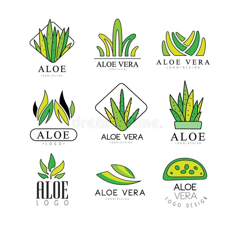 De reeks van het het embleemontwerp van aloëvera, de natuurlijk product groene kentekens, de organische schoonheidsmiddelen, de g vector illustratie