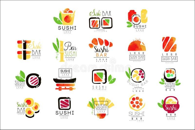 De reeks van het het embleemontwerp van de sushibar kleurrijke waterverf vectorillustraties vector illustratie