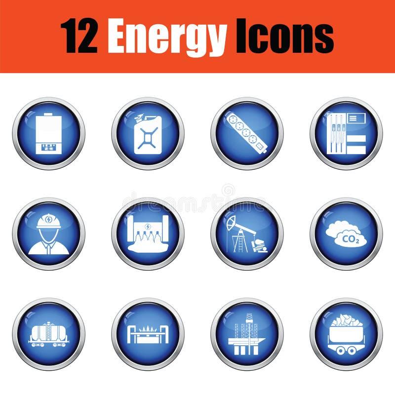 De reeks van het energiepictogram royalty-vrije illustratie