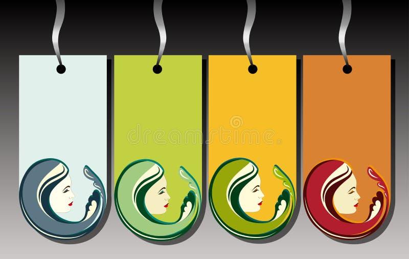 De reeks van het etiket van vier seizoenen stock afbeelding