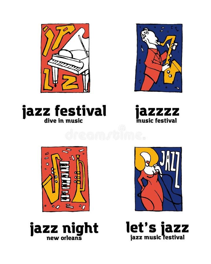 De reeks van het het festivalembleem van de jazzmuziek vector illustratie