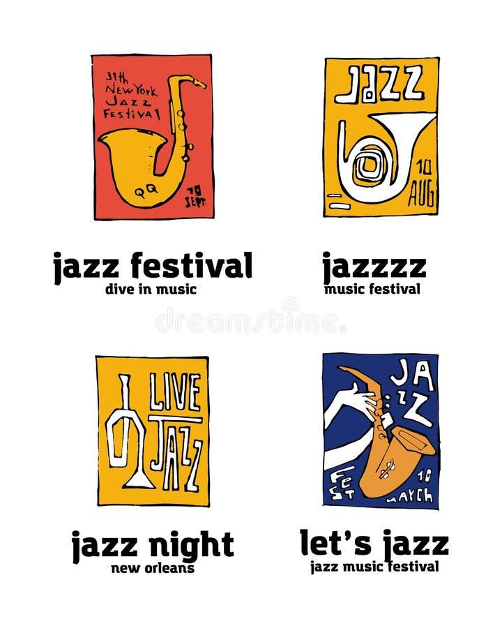De reeks van het het festivalembleem van de jazzmuziek royalty-vrije illustratie