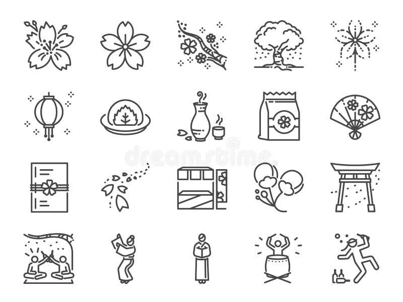 De reeks van het het festivalpictogram van de kersenbloesem Inbegrepen pictogrammen als Sakura, het bloeien, markt, bloem, Japan  vector illustratie