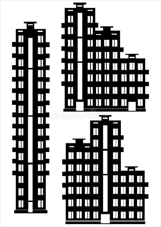De reeks van het flatgebouwpictogram op wit wordt geïsoleerd dat stock illustratie