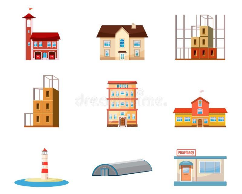 De reeks van het gebouwenpictogram, beeldverhaalstijl vector illustratie