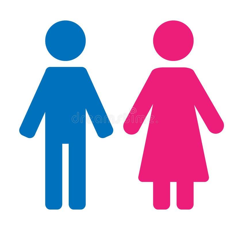 De reeks van het geslachtssymbool Mannelijk Vrouwelijk de vrouwenman van de meisjesjongen vectorpictogram royalty-vrije illustratie