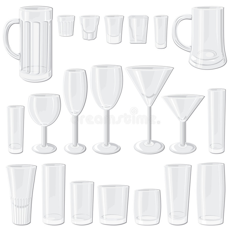 De reeks van het glas vector illustratie