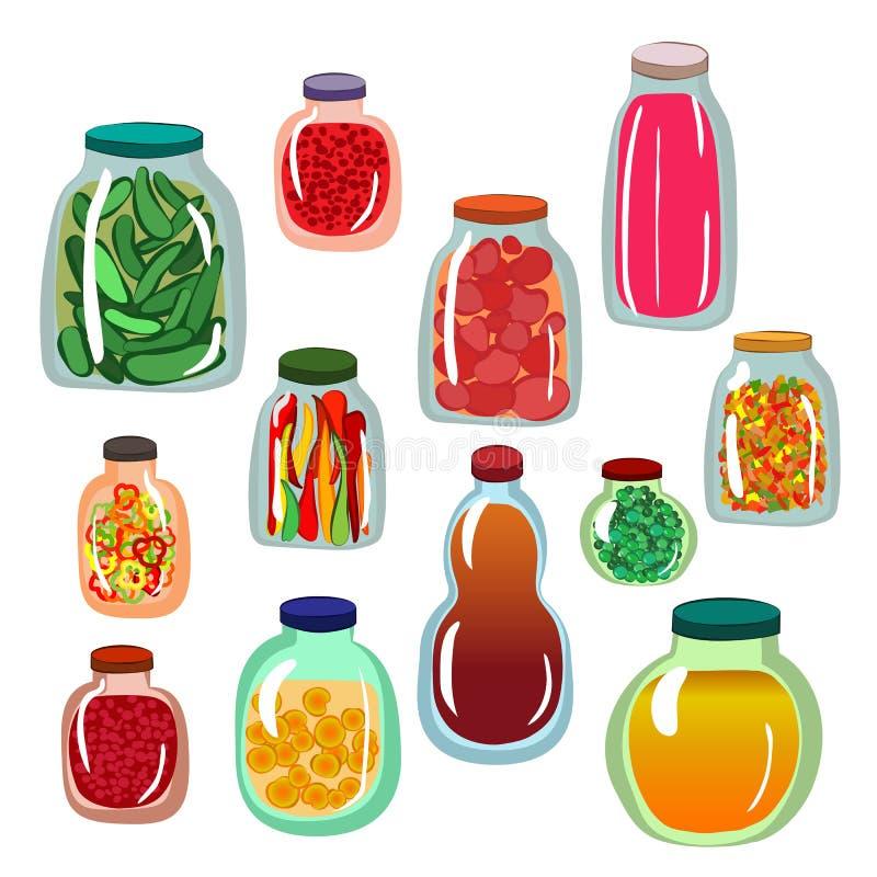 De reeks van het groenten in het zuurpictogram royalty-vrije illustratie