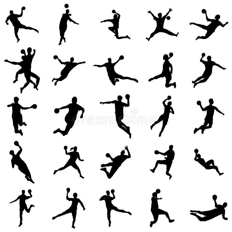 De reeks van het handbalsilhouet stock illustratie