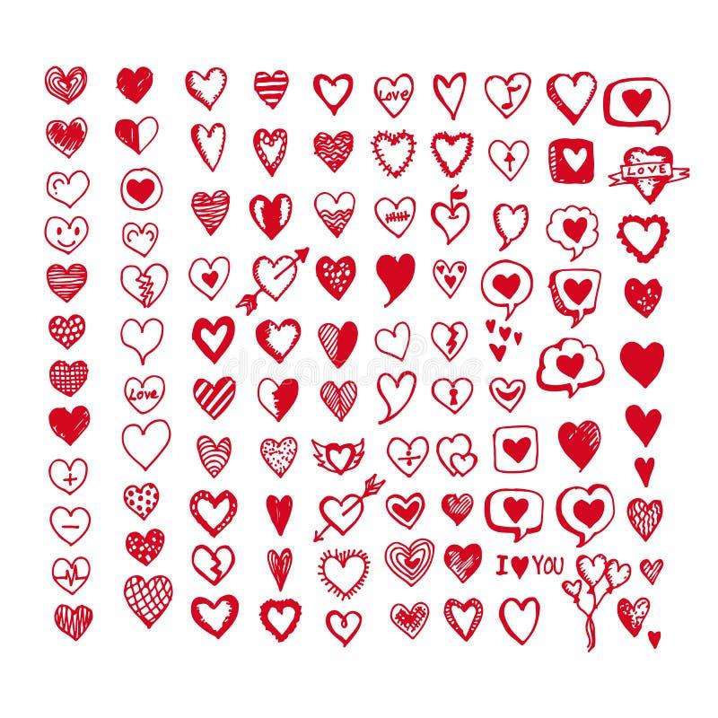 De reeks van het hartenpictogram Hand getrokken illustratie royalty-vrije illustratie