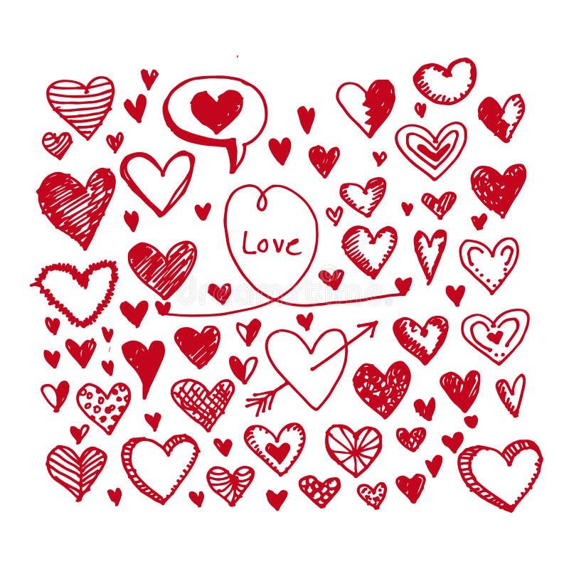 De reeks van het hartenpictogram Hand getrokken illustratie stock illustratie
