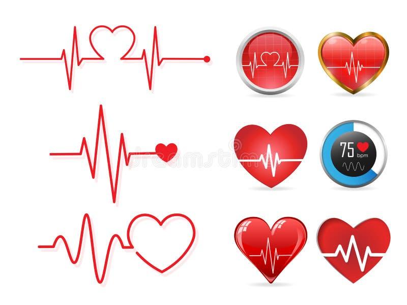 De reeks van het hartslagpictogram en elektrocardiogram, het concept van het hartritme, Vectorillustratie vector illustratie