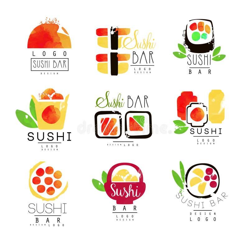 De reeks van het het embleemmalplaatje van de sushibar, kleurrijke waterverf vectorillustraties vector illustratie