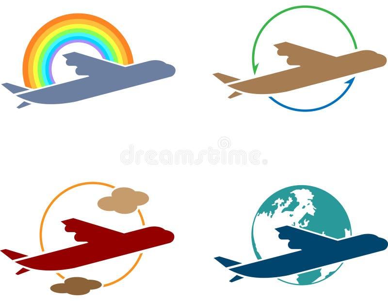 De reeks van het het embleempictogram van de luchtreis stock illustratie