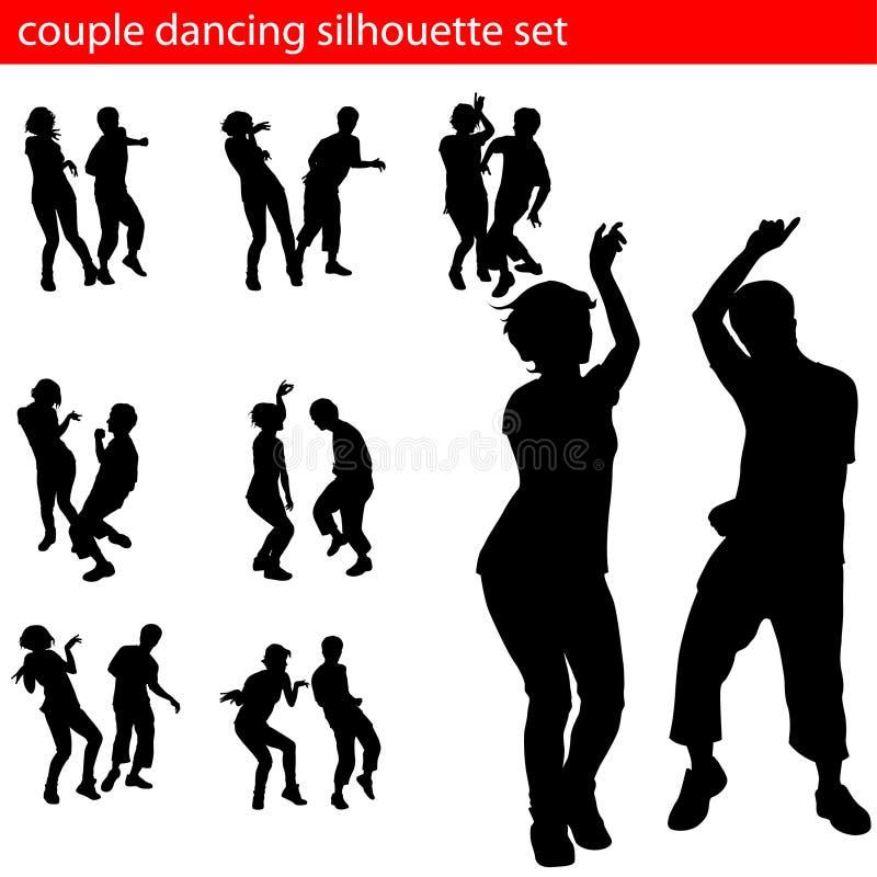 De reeks van het het paarsilhouet van Dancin royalty-vrije illustratie