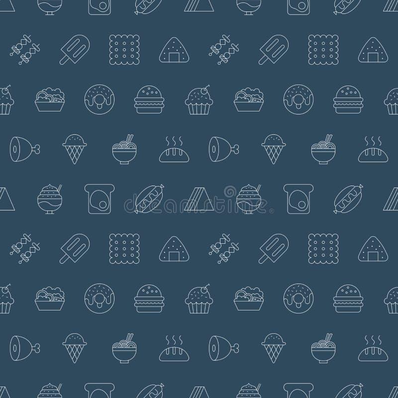 De reeks van het het pictogrampatroon van de voedsellijn royalty-vrije illustratie