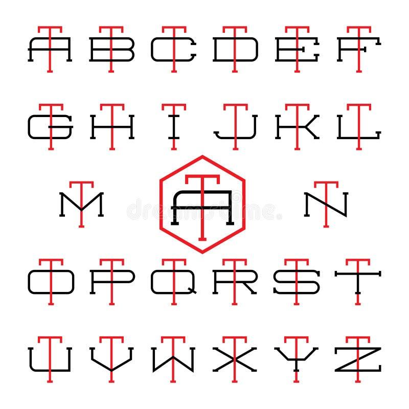 De reeks van het het teamembleem van de universiteitssport Twee dunne brieven vector illustratie