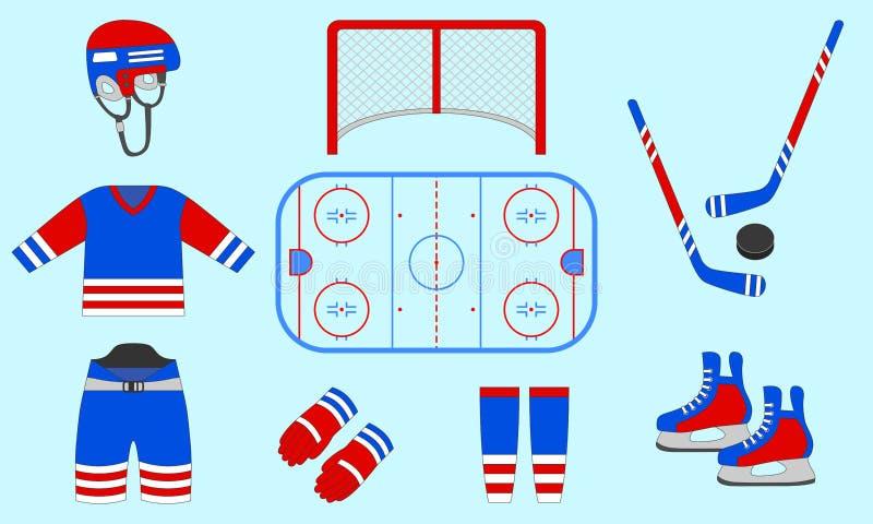 De reeks van het hockeymateriaal Vector illustratie Geïsoleerde pictogrammen voor wintersportenontwerpen Hockeypuck, stok, piste, royalty-vrije illustratie