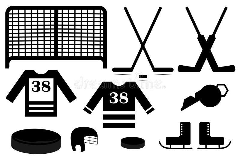 De reeks van het hockeypictogram stock illustratie