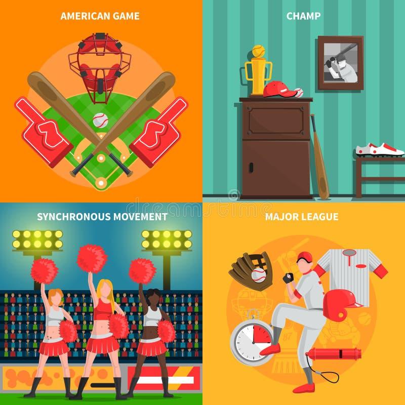 De reeks van het honkbalconcept royalty-vrije illustratie