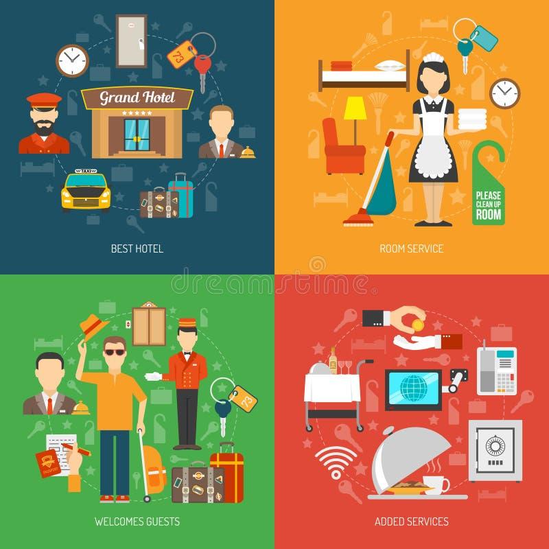 De reeks van het hotelconcept stock illustratie