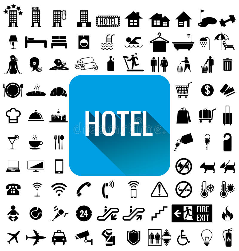 De reeks van het hotelpictogram stock afbeeldingen