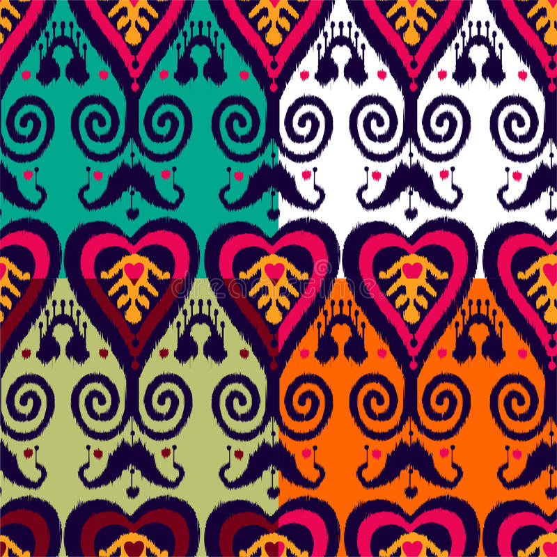 De reeks van het Ikatpatroon royalty-vrije illustratie