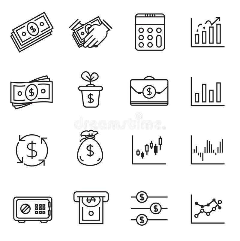 De reeks van het investeringspictogram en financieel geld royalty-vrije illustratie