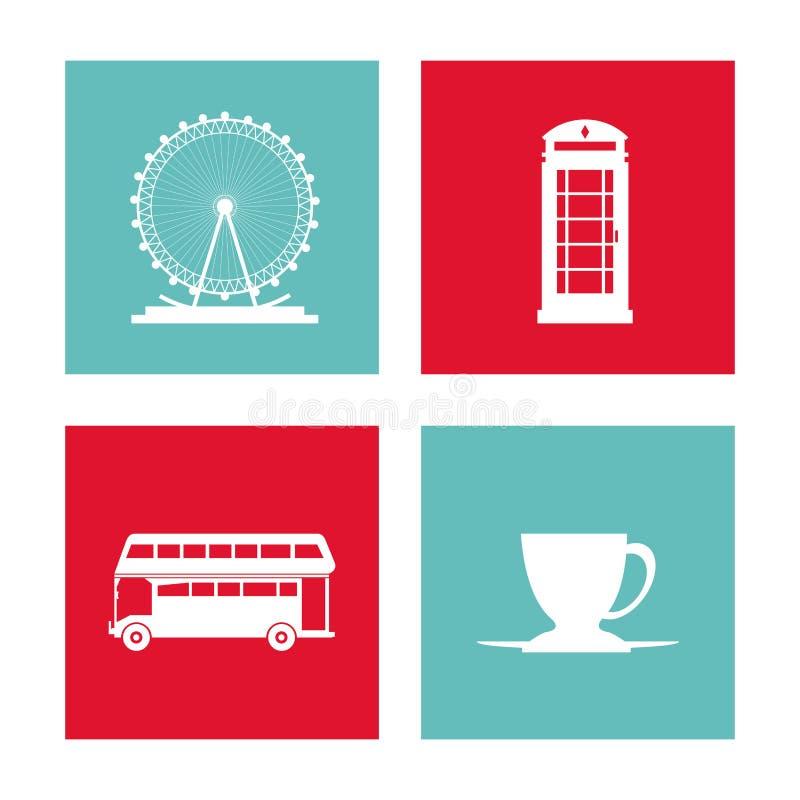 De reeks van het kaderspictogram Het Verenigd Koninkrijk Grafische vector vector illustratie