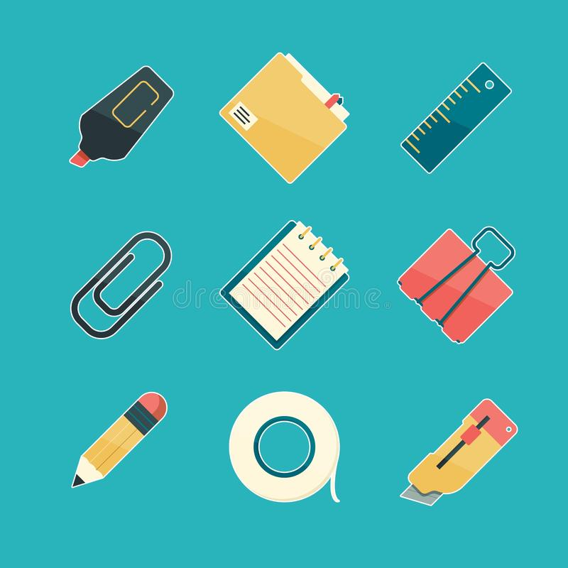 De reeks van het kantoorbehoeftenpictogram Van de de pen paperclip nietmachine van de potloodgom van de het bureaulevering highli vector illustratie