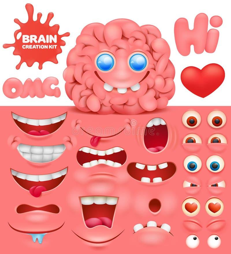 De reeks van de het karakterverwezenlijking van het hersenenbeeldverhaal Doe het zelf inzameling vector illustratie