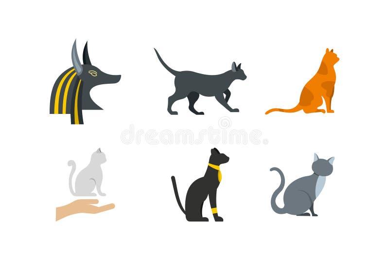 Download De Reeks Van Het Kattenpictogram, Vlakke Stijl Vector Illustratie - Illustratie bestaande uit katachtig, geïsoleerd: 107707121
