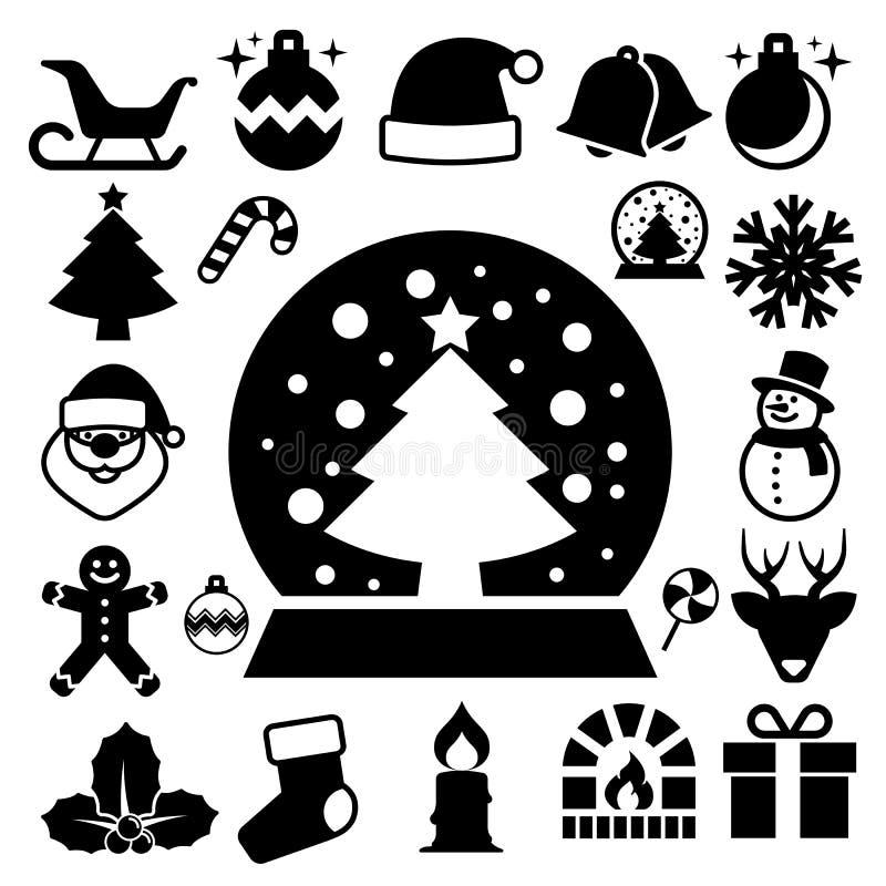 De reeks van het Kerstmispictogram royalty-vrije illustratie