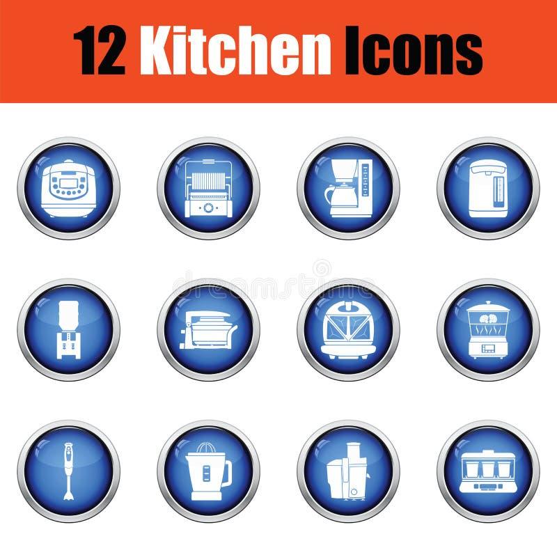 De reeks van het keukenpictogram stock illustratie