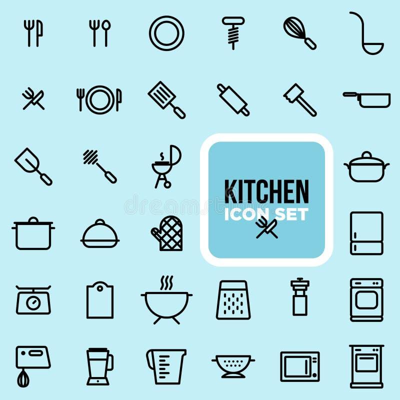 De reeks van het keukenpictogram stock foto