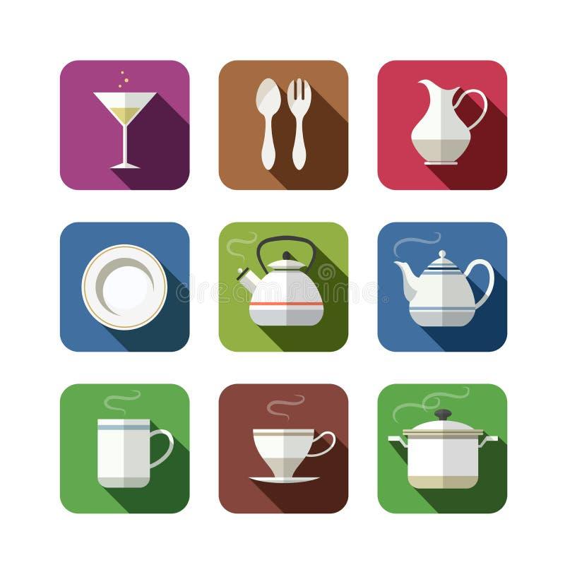 De reeks van het keukenvaatwerk pictogrammen vector illustratie