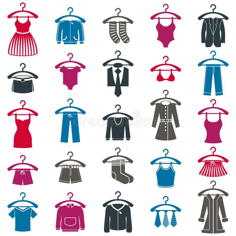 De reeks van het klerenpictogram, vectorinzameling van maniertekens stock illustratie