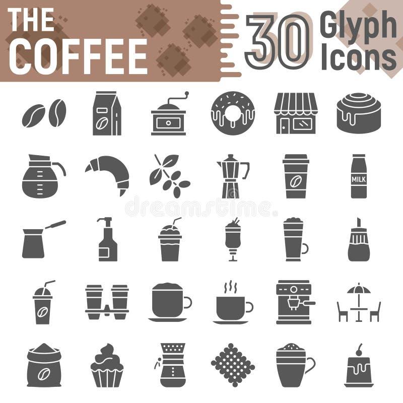 De reeks van het koffie glyph pictogram, de symbolen van de koffiewinkel royalty-vrije illustratie