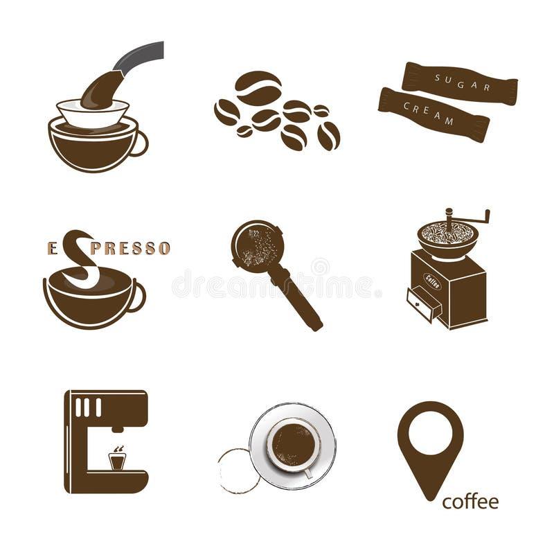 De reeks van het koffiepictogram royalty-vrije illustratie