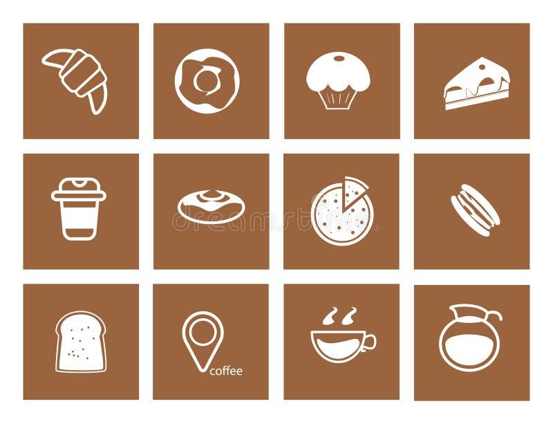 De reeks van het koffiepictogram, de koffiewinkel van de koffieboon royalty-vrije illustratie