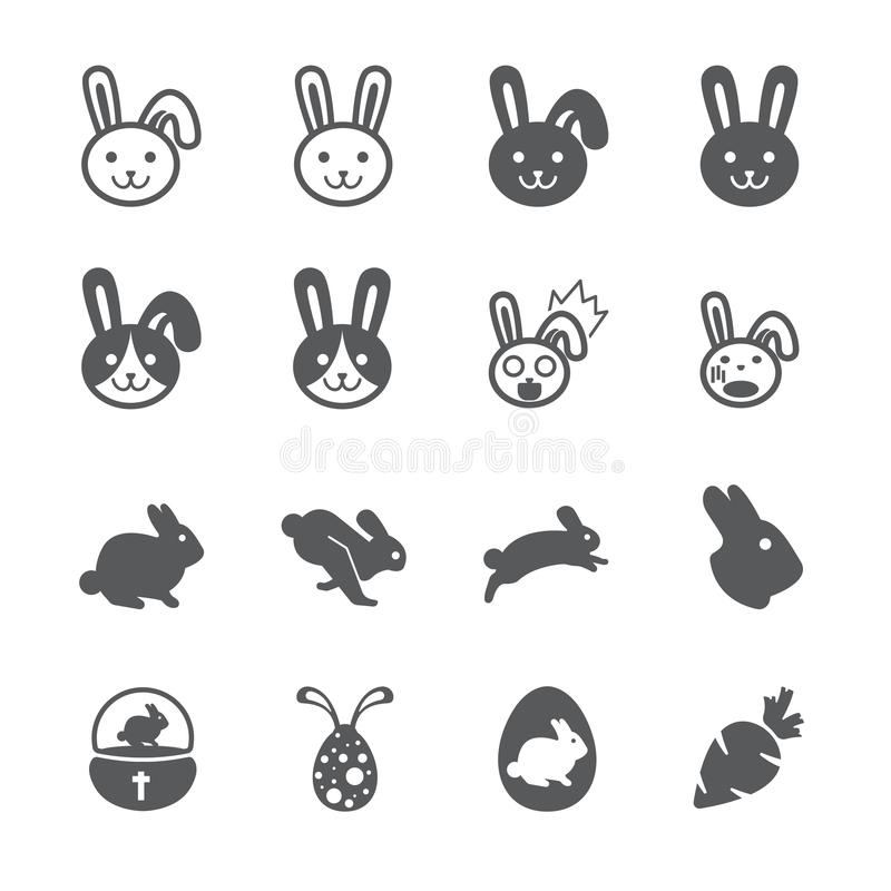 De reeks van het konijnpictogram vector illustratie